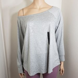 TORRID Sweatshirt Grey Foil Plus Size 3 Lightweigt